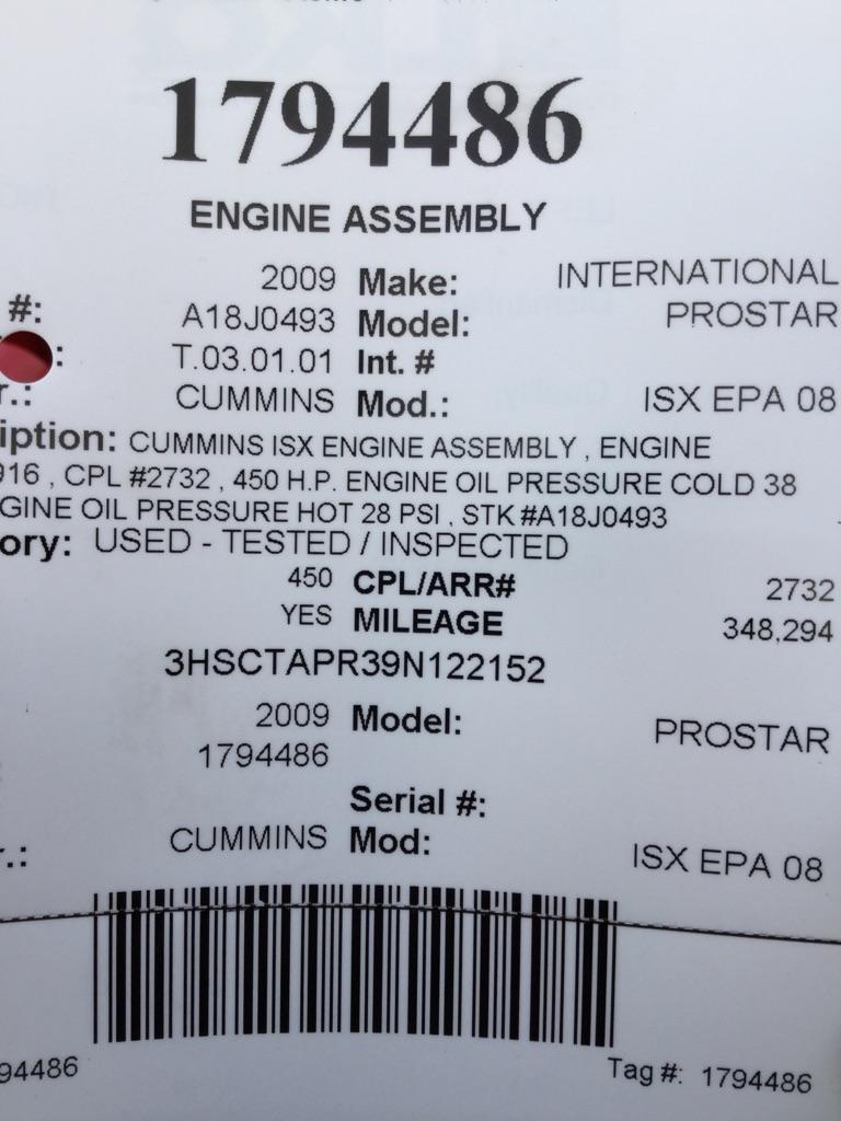 2009 CUMMINS ISX EPA 08 ENGINE ASSEMBLY